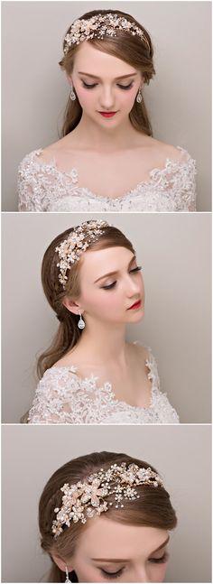 chic pearl and rhinestone bridal headband wedding accessories @elegantwinvites
