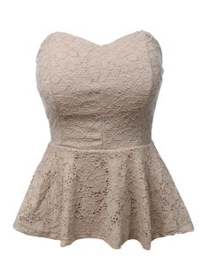 Femme and romantic, this stretchy strapless lace peplum crop top is perfect for any special occasion. Molded cups gives extra support.and a flattering shape. An essential piece for all year round. Fea