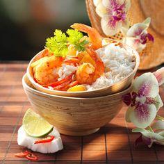 Thai-Curry mit Garnelen , Mango und Kokos