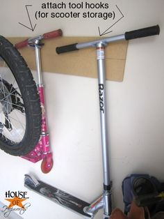 Better Bike & Scooter Storage – House of Hepworths – Garage Organization DIY Garage Velo, Garage Shed, Garage House, Diy Garage, Garage Workbench, Bike Storage Home, Scooter Storage, Bike Hooks For Garage, Bike Storage Garage Wall