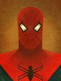 Minimalist Heroes SpiderMan print by JeffJanelleArtDesign on Etsy, $15.00