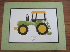 A footprint tractor, perfect for a fan of the John Deere tractors! Cute Crafts, Crafts To Do, Crafts For Kids, Arts And Crafts, Diy Crafts, Toddler Crafts, Projects For Kids, Craft Projects, Christmas Crafts