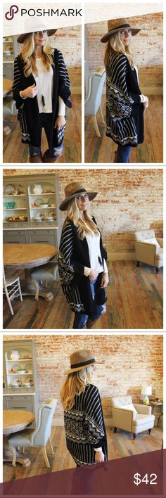 """Black and white printed open cardigan Modeling size small. 100% acrylic. Bust laying flat: S 20"""" M 21"""" L 22"""". Length S 33"""" M 34"""" L 35"""". Add to bundle to save when purchasing.  AP9901027.CL30010 Sweaters Cardigans"""