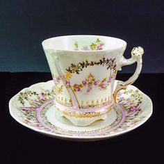 Antique C. Tielsch  Bavaria Germany Corseted Pedestal Tea Cup & Saucer Set with Rose and Gold Garland