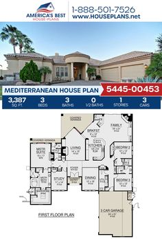 Full of Mediterranean style, Plan 5445-00453 offers 3,387 sq. ft., 3 bedrooms, 3 bathrooms, a breakfast nook, an open floor plan, a formal living room, and a study. #mediterranean #architecture #houseplans #housedesign #homedesign #homedesigns #architecturalplans #newconstruction #floorplans #dreamhome #dreamhouseplans #abhouseplans #besthouseplans #newhome #newhouse #homesweethome #buildingahome #buildahome #residentialplans #residentialhome Mediterranean House Plans, Mediterranean Architecture, Mediterranean Style, Best House Plans, Dream House Plans, Stucco Exterior, Common Room, Formal Living Rooms, Breakfast Nook