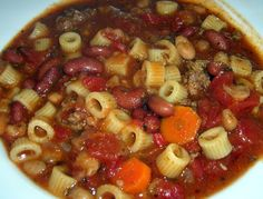 This Copycat Olive Garden Pasta Fagioli Recipe from Food.com tastes just like the real thing, and will bring you comfort all winter long.