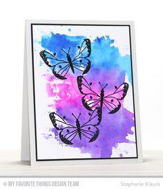 Handmade card from Stephanie Klauck featuring Beautiful Butterflies Card Kit #mftstamps