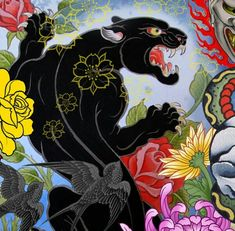 Panther Japanese tattoo design