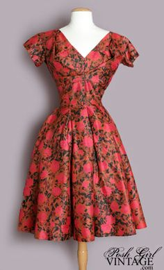 1950's Red Floral Suzy Perette Dress vintage red designer dress :