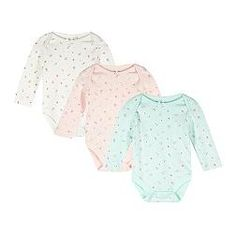Pack of three babies cream, pink and green floral pointelle bodysuits