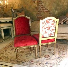 Pair Louis XVI Style Side Chairs with Chinoiserie - ID# 648 - $2,250.00 - Antiques of Pasadena, LLC
