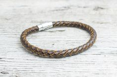 Brown braided leather #bracelet with magnetic clasp, mens bracelet, womens bracelet