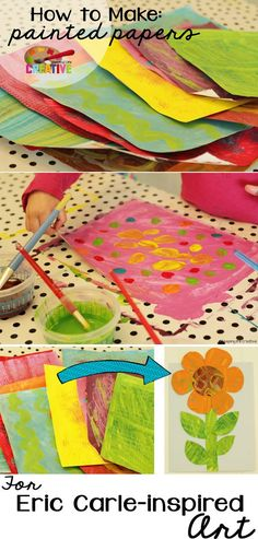 How to make painted paper for Eric Carle-inspired art.