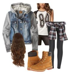 """""""K.C Undercover Outfit"""" by xgraaceex ❤ liked on Polyvore featuring Forever 21, The Row, American Eagle Outfitters and Timberland"""