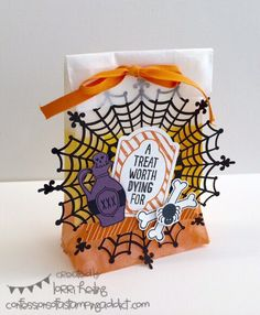 Weekly Deals and Halloween Card! :: Confessions of a Stamping Addict Lorri Heiling Candy Corn Halloween Treat Bag Happy Haunting