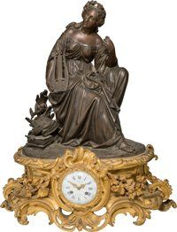 A Leon Marchand Napoleon III Patinated and Gilt Bronze Mantle Clock, late 19th century Mark to clock face: L MARCHAND, A...