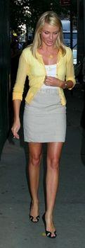 Yellow cardigan, gray pencil skirt, white tank AA