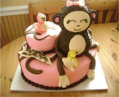 girl monkey baby shower cake ideas - Google Search
