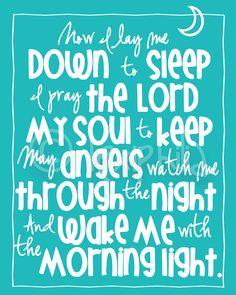 Nursery Art - The Lord's Prayer - Now I lay me down to sleep  - 8x10 Art Print -. $12.00, via Etsy.