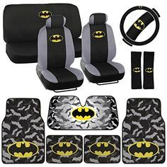 Batman Seat Cover, Carpet Floor Mat and Sun Shade - Warner Brothers 14 Piece Full Interior Protection Auto Accessories
