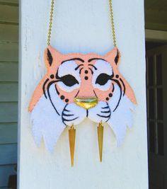 Felt Necklace  Warrior Tiger by theTriangleOfBears