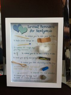 """I made this! Thought it might be more practical than giving the whole survival """"kit"""" which may or may not prove useful!   Wedding Shower Idea, Shadow Boxes 3-pk $25 at Michaels, print and home and hot glue items collected also around the home!"""