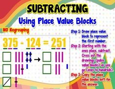 Place Value - Subtracting = Poster/Anchor Chart with Cards for Students http://www.teacherspayteachers.com/Product/Place-Value-Subtracting-PosterAnchor-Chart-with-Cards-for-Students-1260145