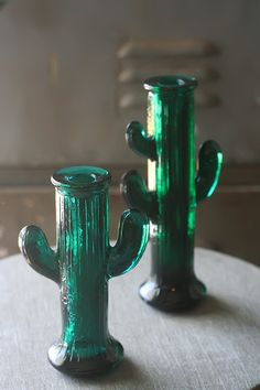 Two Glass Cactus Candle Holders by thriftykitten on Etsy, $22.00