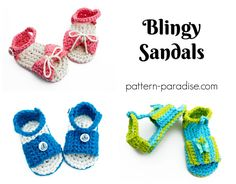 Free crochet pattern for baby sandals slippers by pattern-paradise.com #crochet #patternparadisecrochet #sandals #slippers #baby