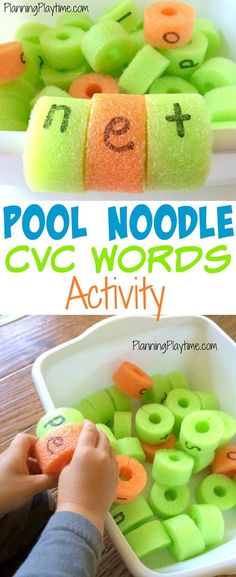 Just cut pool noodles and plastic tub! Pool Noodle CVC Words Activity - Cut a slit in the back and then clip the letters onto the edge of the tub. So fun! - Could work in a kiddie pool too. Phonics Activities, Reading Activities, Educational Activities, Teaching Reading, Activities For Kids, Spelling Word Activities, Word Work Activities, Reading Games, Kindergarten Literacy