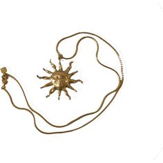 Vintage Anne Klein Happy Sun Pendant ($47) ❤ liked on Polyvore featuring jewelry, necklaces, accessories, fillers, vintage gold jewelry, chains jewelry, gold pendant jewelry, chain pendants and anne klein jewelry