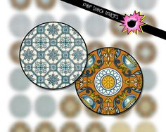 1-Inch Circle Rounds Collage Sheet - Blue and Tan Geometric Design - For Pendants, Magnets & Wine Charms - Inchies Instant Download - 1-Inch