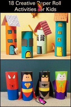 15 Fun & Easy Toilet Paper Roll Crafts For Kids,  #ArtAndCraftforkids #Crafts #Easy #fun #kid...  <br> Cardboard Tube Crafts, Paper Towel Roll Crafts, Toilet Paper Roll Crafts, Paper Crafts For Kids, Projects For Kids, Diy For Kids, Easy Crafts, Craft Projects, Tissue Roll Crafts