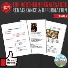 Cornell Notes (The Northern Renaissance) Teacher Created Resources, Teacher Blogs, Renaissance And Reformation, Modern World History, Cornell Notes, Social Studies Resources, Grades, Middle School, High School