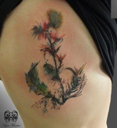 My new tattoo, courtesy of Kym Munster! Abstract, watercolour thistle! Scottish tattoo #watercolour #abstract #tattoo