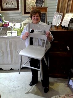 Great job painting and stenciling the chair! Too cute!