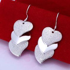 New Hot Women 925 Sterling Silver Plating Hearts String Drop Hook Studs Earrings