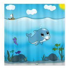 Playful Dolphin (sc) Shower Curtain