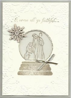 Full size Boughs & Berries Nativity Globe by djolet - Cards and Paper Crafts at Splitcoaststampers