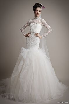 Ersa Atelier 2015 #bridal collection: Catherina #wedding #dress with long sleeve lace top #weddingdress #weddinggown