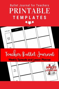 "Do you have a Teacher Bullet Journal? These printable templates include weekly spreads and lesson planners. Print out as a whole journal or just individual pages. Fits regular 8 1/2"" x 11"" paper."