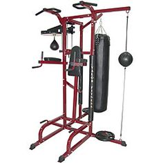 @Overstock - Train like a pro at home with this all-in-one boxing gym Home gym provides 4-position pull-up station with foam-padded grips Exercise equipment ideal for home  - I want one of these for my garage - going to loose 10kilos then talk Hubby Into one :)