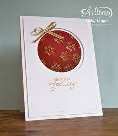 SU! Endless Wishes stamp set embossed in gold on Cherry Cobbler and Whisper White - Vicky Hayes