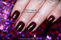 Gelish Purple Red Glitter Festive nails by FUNKY FINGERS FACTORY