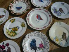 RESERVED FOR LIZ - 2 birdie wall art vintage side plates via Etsy