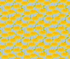 Yellow Flower on Blue fabric by glimmericks on Spoonflower - custom fabric