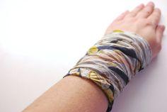 Artistic Striped Chiffon Wrist Cuff Light Pink Jersey Wrist Bracelet with Gold Accent Fashion accessory Women Teens Wrist Tattoo Cover