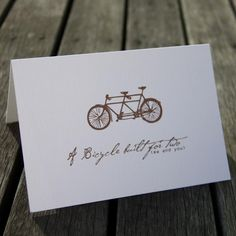 Bicycle Built For Two Card Bicycle For Two, Paper Dolls, How To Find Out, Stationery, Greeting Cards, Place Card Holders, Stuff To Buy, Things To Sell, Paper Mill