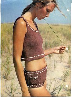 Vintage Knitting Pattern Boy Short Bikini Hip by Vintage Crochet Patterns, Vintage Knitting, Crochet Designs, Crochet Bikini, Knit Crochet, Crochet Granny, Knitting Patterns Boys, Knitting Tutorials, Boyshort Bikini