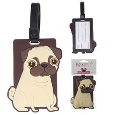 #pug #travel PRICE £2.99 Take your passion for pugs with you as you travel with this Cute Pug Dog Luggage Tag!. Made from durable PVC with address label, Dimensions: Total Length 17cm Tag Height 11cm Width 8cm Depth 0.5cm. See more Pug items in our online shop ;)